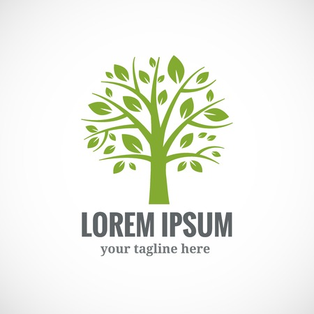 Green tree vector logo design template. Plant, nature and ecology Vector
