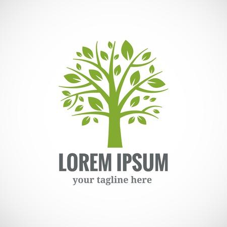 Xanh vector cây thiết kế logo mẫu. Thực vật, thiên nhiên và sinh thái Hình minh hoạ