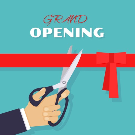 cutting: Grand opening ceremony and celebration and event. Scissors cut red ribbon. Vector illustration Illustration
