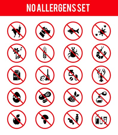 Allergen free products icons Vector