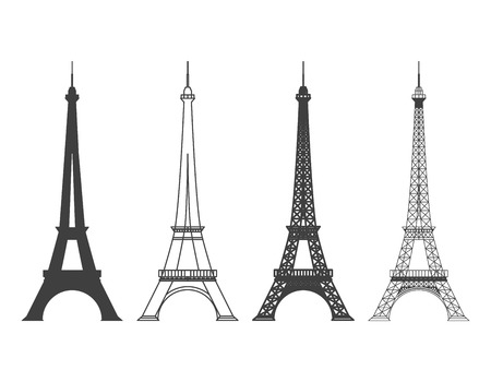 Touring: Zestaw różnych Wieży Eiffla w Paryżu, sylwetka wektor. Landmark i struktura