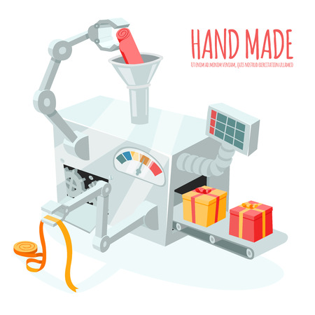 conveyer: Vector cartoon robotic production of gift boxes. Packaging and wrapping, automation and handmade