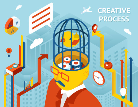 thinking machine: Creative process. Thought and creation, thinking and invention and solution Gears in human head. Vector illustration