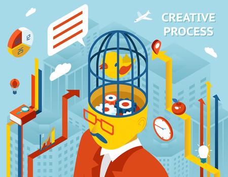 engranajes: Proceso creativo. El pensamiento y la creación, el pensamiento y la invención de soluciones y engranajes en cabeza humana. Ilustración vectorial Vectores