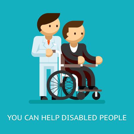 persona en silla de ruedas: Las personas con discapacidad ayudan concepto