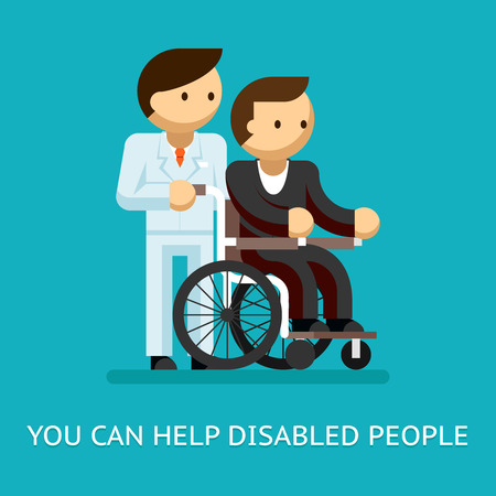 Disabled people help concept Illustration