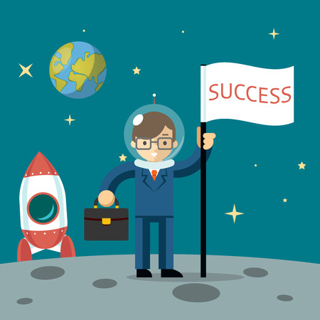 Successful businessman gets the moon holding a flag and carrying case. Vector illustration Vector