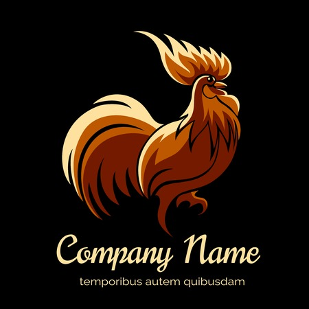 hens: Company template with fire cock Illustration