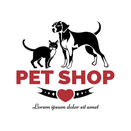 ペット ショップ。犬と猫。ケアとサービス。ベクトル図