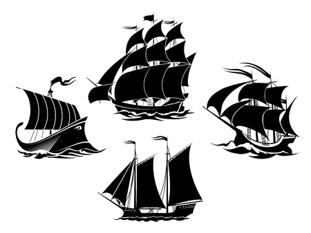 ship storm: Sailboats and sailing ships silhouettes