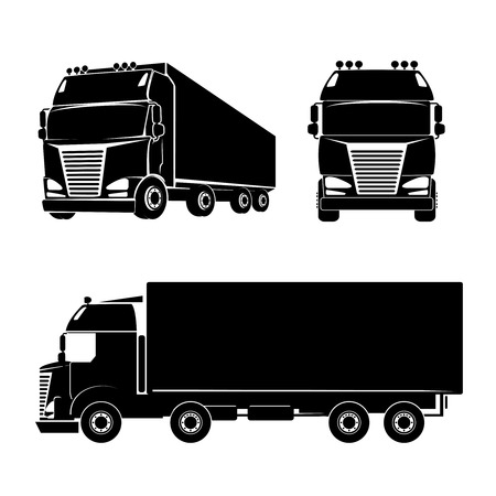 Black silhouette truck icon. Car and cargo and cabin. Vector illustration