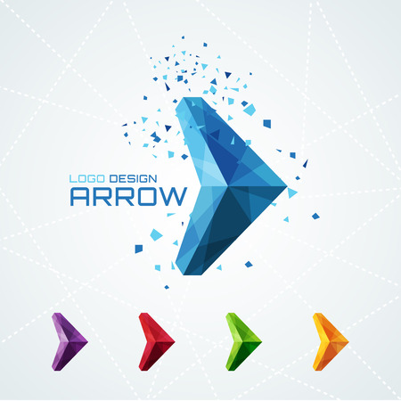 arrow sign: Abstract triangular arrow