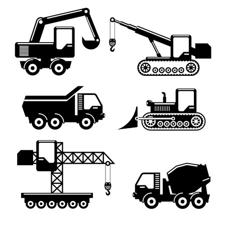 crawler tractor: Set of icons construction. Crane and tractor, excavator, crawler and concrete mixer. Vector illustration Illustration
