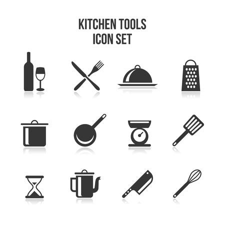 キッチンと料理アイコン  イラスト・ベクター素材