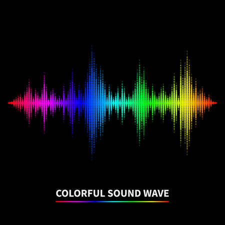 Colorful sound wave background. Equalizer, swing and music. Vector illustration