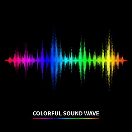 sonido: Fondo colorido de la onda sonora. Ecualizador, el swing y la música. Ilustración vectorial