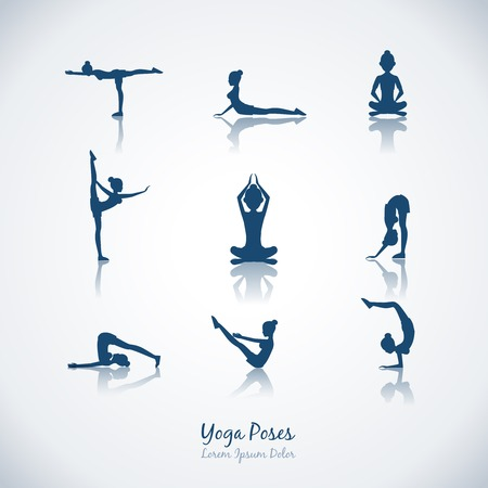 icons: Vector yoga houdingen Stock Illustratie