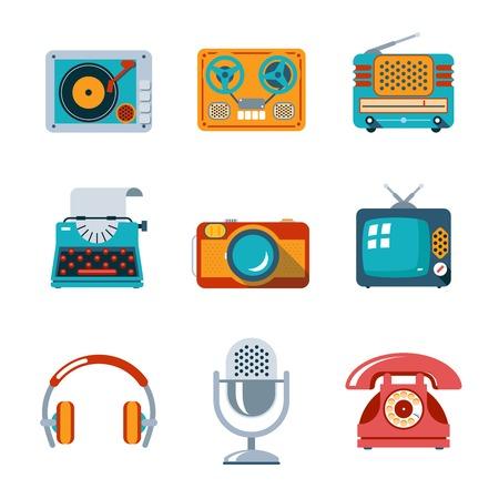 television antigua: Iconos de medios retro en estilo plano