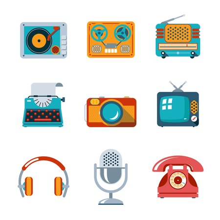 old phone: Retro media icons in flat style