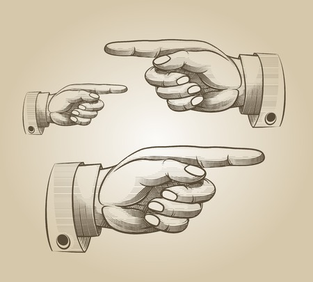 pointing finger pointing: Retro pointing hand Illustration