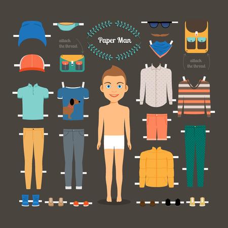 uomo nudo: Paper template uomo doll Vettoriali