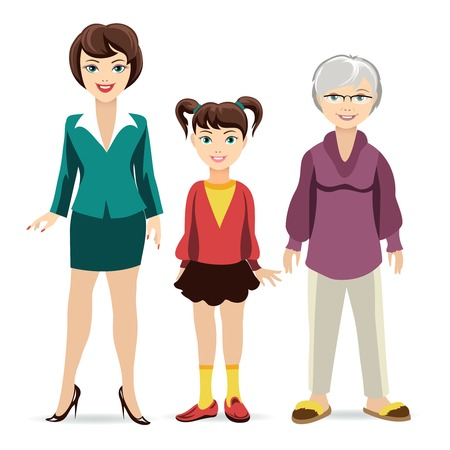 happy old age: Three ages of women. Daughter, mother and grandmother