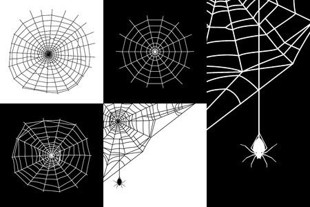 spider web: Vector cobweb or spider web silhouettes set