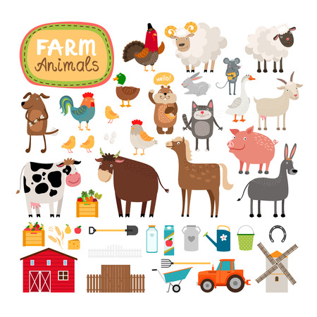 cartoon chicken: Vector farm animals