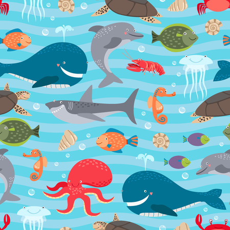 sharks: Sea creatures seamless background