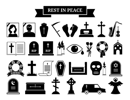 angel headstone: Vector funeral icons