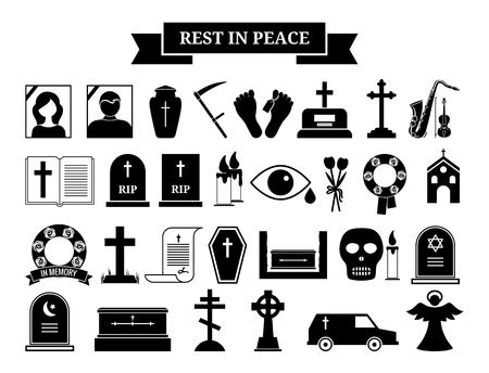 Wektorowe ikony pogrzebowe