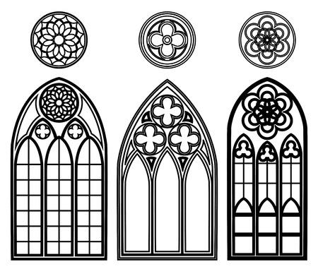 finestra: Finestre gotiche di cattedrali Vettoriali