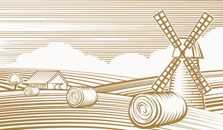 agricultura: Paisaje de la agricultura con el molino y granero Vectores