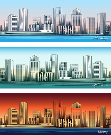 skylines: City skylines in morning, afternoon and evening backgrounds Illustration