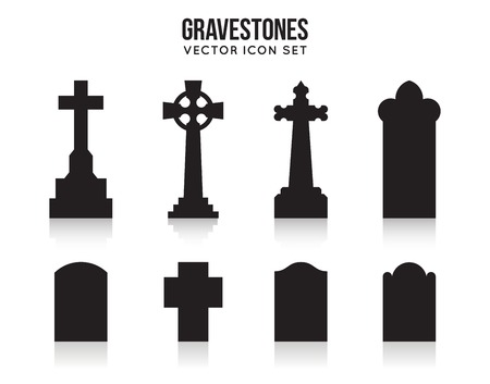 churchyard: Tombstone silhouette icons isolated on white background