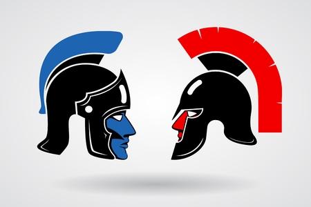 Gladiators. Heads in ancient helmets Vector Illustration