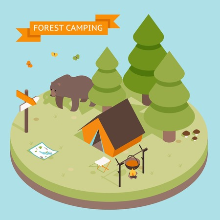 outdoor seating: Isometric 3d forest camping icon