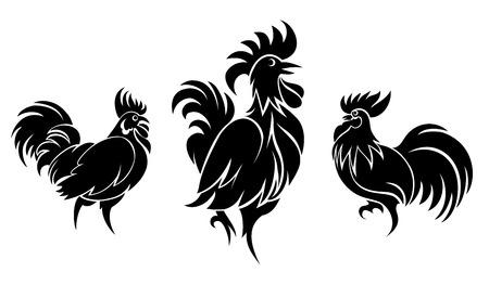 cockscomb: Set of cocks silhouettes