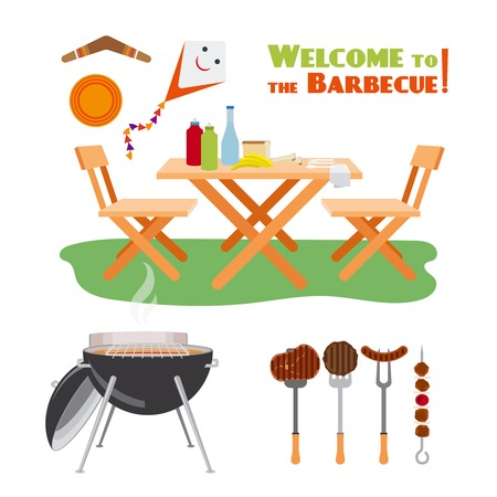 outdoor chair: Barbecue BBQ poster elements