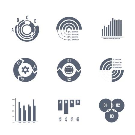 Vector diagrams, charts and graphs Vector