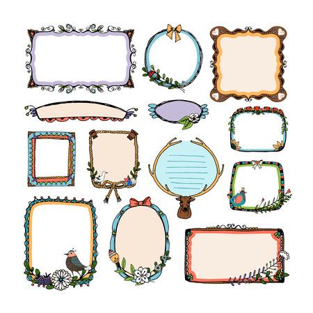 embellished: Colorful doodle frames Illustration