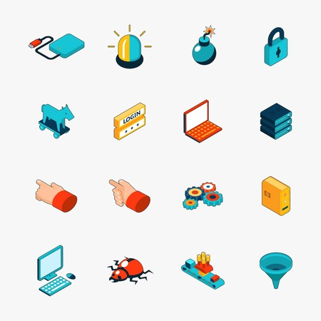 login icon: Isometric 3D internet security web icons