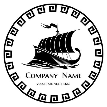 古代ギリシャのガレー船のロゴのアイコン  イラスト・ベクター素材