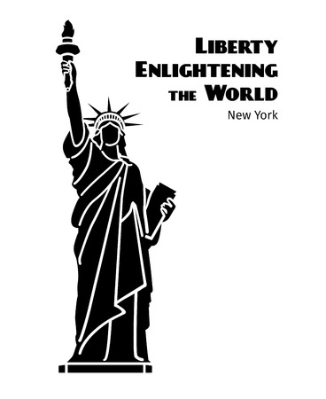 enlightening: Statue of Liberty vector black isolated silhouette