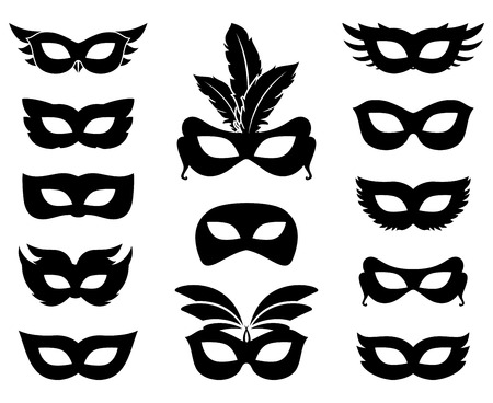 Carnival mask silhouettes Illustration