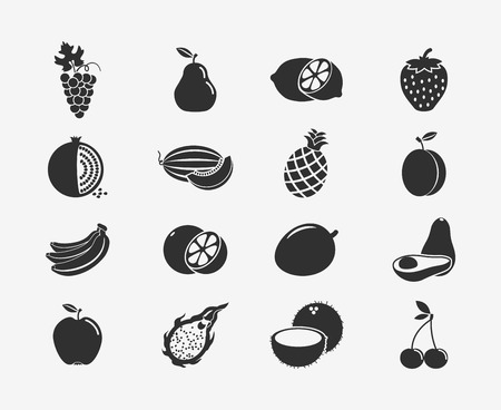 coconut leaf: Fruit silhouettes icons