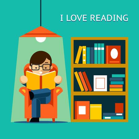 Ik houd van lezen Stock Illustratie