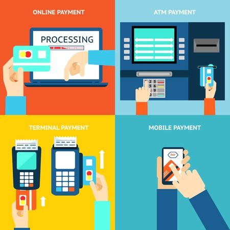 mobile app: Payment methods. Credit card, cash, mobile app and ATM terminal