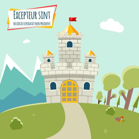 wall cloud: Vector castle Illustration