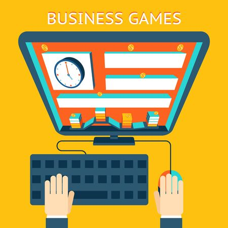 making money: Business gamification. Making money as a game Illustration